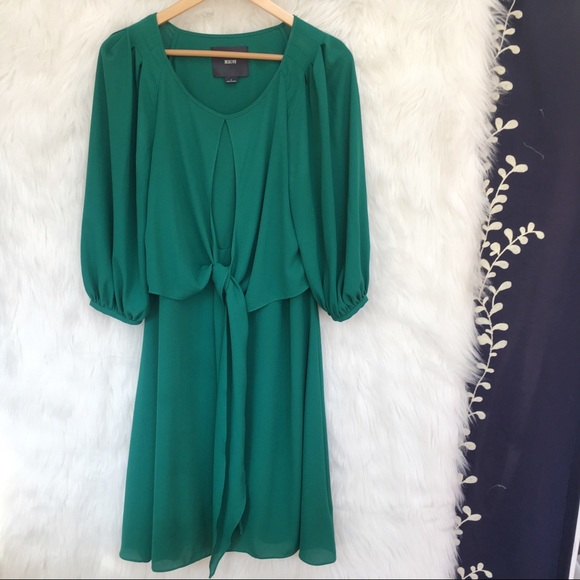 Anthropologie Dresses & Skirts - Anthro Maeve Emerald Green Tie Front Dress-N20